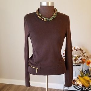 M MICHAEL KORS Brown L/S Sweater w/ Zipper Accent
